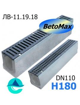 BetoMax ЛВ-11.19.18-Б лоток водоотводный бетонный с решеткой чугунной щелевой ВЧ-50 кл. D или E