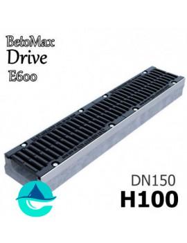 """BetoMax Drive ЛВ-15.21.10 лоток бетонный водоотводный с решеткой чугунной щелевой ВЧ-50 """"шина"""" кл. E"""