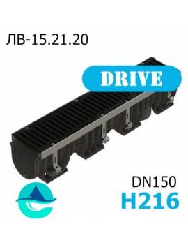 Лоток водоотводный PolyMax Drive DN150 H216 с решеткой, кл. D