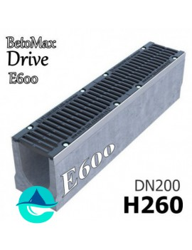 """BetoMax Drive ЛВ-20.26.26-Б лоток водоотводный бетонный с решеткой чугунной щелевой ВЧ-50  """"шина"""" кл. E"""