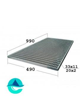 P 490х990 20/2 33х11 Zn стальная придверная грязезащитная решетка (решетчатый прессованный оцинкованный настил)