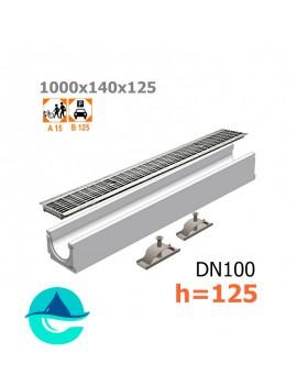 Лоток бетонный ЛВ-10.14.12,5 с решеткой стальной ячеистой оцинкованной и крепежом (комплект)