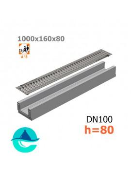 Лоток бетонный ЛВ-10.16.08 с решеткой штампованной оцинкованной и крепежом (комплект)
