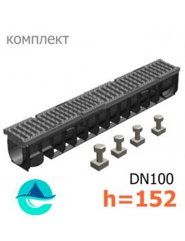Gidrolica Pro DN100 H152 лоток пластиковый водоотводный с полиамидной решеткой