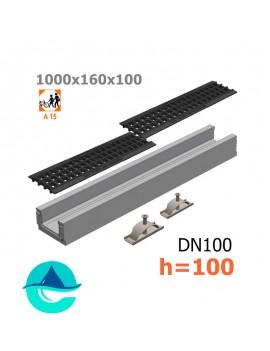 Лоток бетонный ЛВ-10.16.10 с решеткой пластиковой и крепежом (комплект)