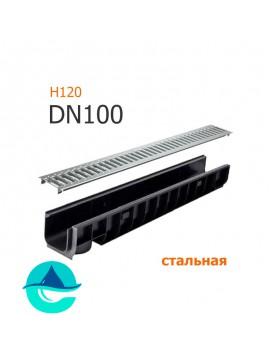 Лоток пластиковый DN100 H120 с решеткой штампованной оцинкованной и крепежом (комплект)