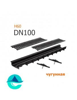 Лоток пластиковый DN100 H60 с решеткой чугунной щелевой и крепежом (комплект)