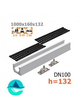 Лоток бетонный ЛВ-10.16.13,2 с решеткой чугунной ячеистой и крепежом (комплект)