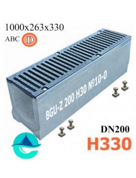BGU-Z DN200 H330 №10-0 лоток бетонный водоотводный с решеткой чугунной ВЧ-50 кл. D