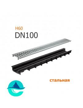 Лоток пластиковый DN100 H60 с решеткой штампованной оцинкованной и крепежом (комплект)