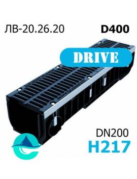 Лоток водоотводный PolyMax Drive DN200 H217 с решеткой, кл. D