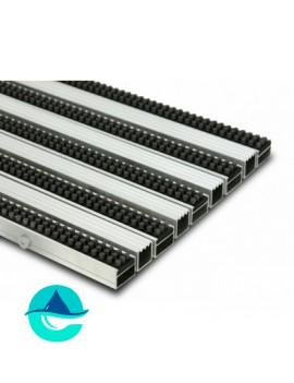 Придверная алюминиевая грязезащитная решетка Щётка + Широкий скребок, м2