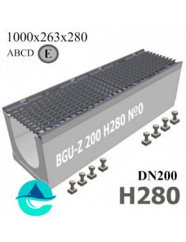 BGU-Z DN200 H280 №0 лоток бетонный водоотводный с решеткой чугунной ВЧ-50 кл. E