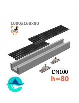 Лоток бетонный ЛВ-10.16.08 с решеткой пластиковой и крепежом (комплект)