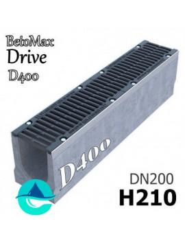 BetoMax Drive ЛВ-20.26.21-Б лоток водоотводный бетонный с решеткой чугунной щелевой ВЧ-50 кл. D