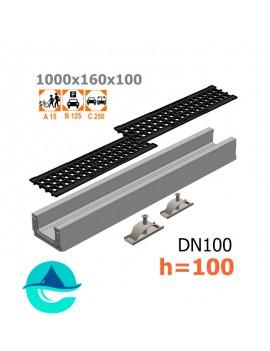 Лоток бетонный ЛВ-10.16.10 с решеткой чугунной ячеистой и крепежом (комплект)