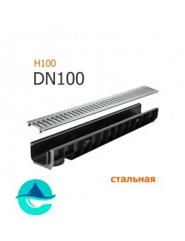 Лоток пластиковый DN100 H100 с решеткой штампованной оцинкованной и крепежом (комплект)