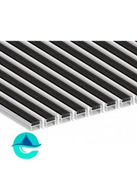 Придверная алюминиевая грязезащитная решетка Резина + Скребок, м2