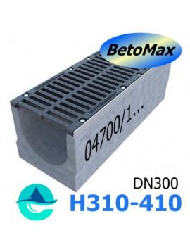 BetoMax ЛВ-30.38.41-Б-У01 лоток водоотводный бетонный с уклоном и с решеткой чугунной щелевой ВЧ-50 кл. D или E