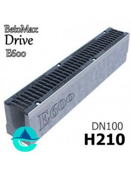 """BetoMax Drive ЛВ-10.16.21-Б лоток бетонный водоотводный с решеткой чугунной щелевой ВЧ-50 """"шина"""" кл. Е"""