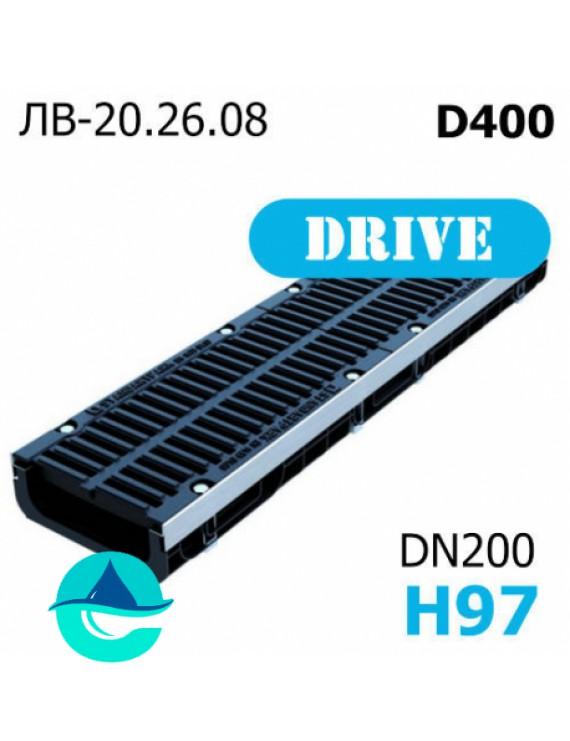 Лоток водоотводный PolyMax Drive DN200 H97 с решеткой, кл. D
