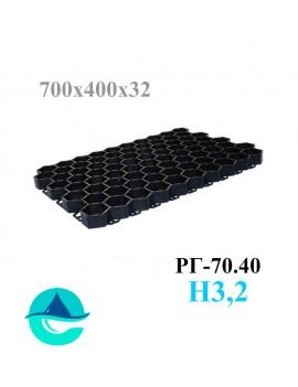 Решетка газонная Eco Standart РГ-70.40.3,2 - пластиковая черная