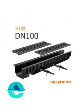 Лоток пластиковый DN100 H135 с решеткой чугунной щелевой и крепежом (комплект)