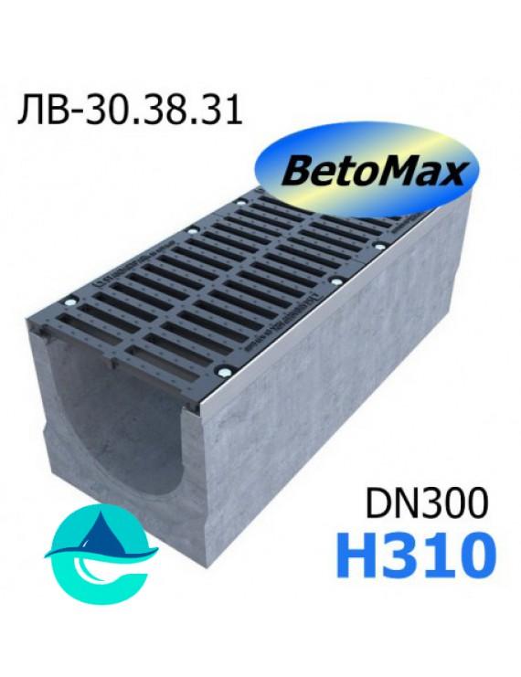 BetoMax ЛВ-30.38.31-Б лоток водоотводный бетонный с решеткой чугунной щелевой ВЧ-50 кл. D и E