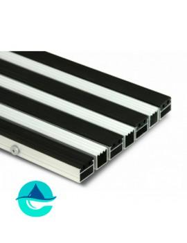 Придверная алюминиевая грязезащитная решетка Резина + Широкий Скребок, м2