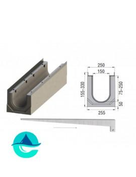 Лоток бетонный водоотводный ЛВК ВМ Sir 150 с уклоном № 01...20
