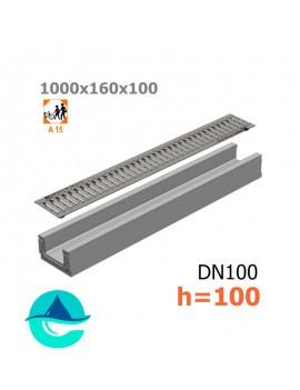 Лоток бетонный ЛВ-10.16.10 с решеткой штампованной оцинкованной и крепежом (комплект)