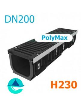 Лоток PolyMax DN200 H230 с чугунной решеткой, кл. E