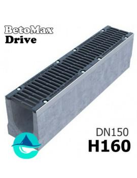 BetoMax Drive ЛВ-15.21.16-Б лоток водоотводный бетонный с решеткой чугунной щелевой ВЧ-50 кл. D