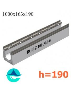 BGU-Z DN100 H190, № 5-0 лоток бетонный водоотводный