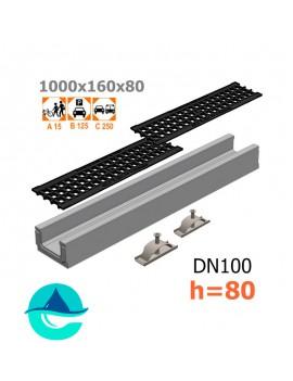 Лоток бетонный ЛВ-10.16.08 с решеткой чугунной ячеистой и крепежом (комплект)