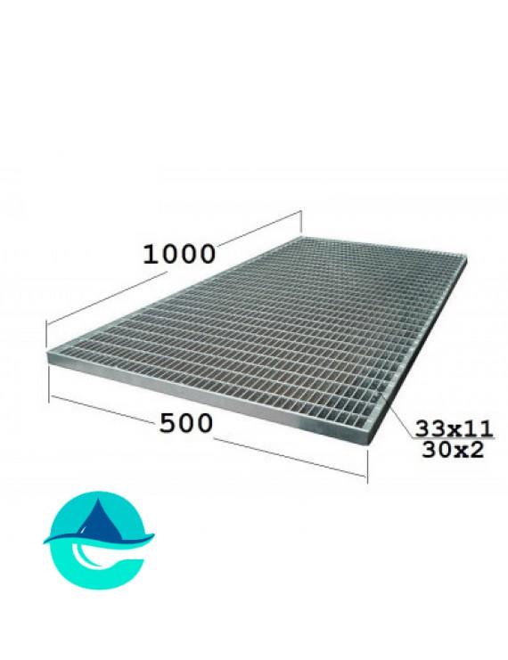 P 500х1000 30х2 33х11 Zn стальная придверная грязезащитная решетка (решетчатый прессованный оцинкованный настил)