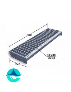 P 600x240 30/2 34x38 Zn ступени металлические из решетчатого настила