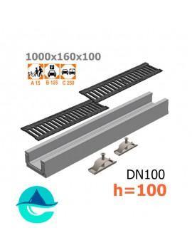 Лоток бетонный ЛВ-10.16.10 с решеткой чугунной щелевой и крепежом (комплект)