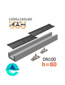 Лоток бетонный ЛВ-10.16.08 с решеткой чугунной щелевой и крепежом (комплект)