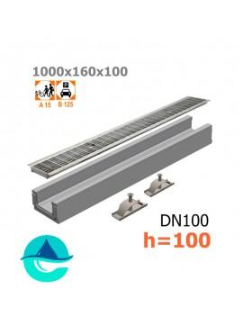 Лоток бетонный ЛВ-10.16.10 с решеткой стальной ячеистой оцинкованной и крепежом (комплект)