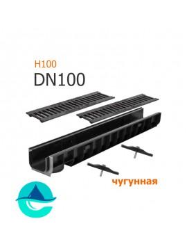 Лоток пластиковый DN100 H100 с решеткой чугунной щелевой и крепежом (комплект)