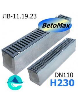 BetoMax ЛВ-11.19.23-Б лоток водоотводный бетонный с решеткой чугунной щелевой ВЧ-50 кл. D или E