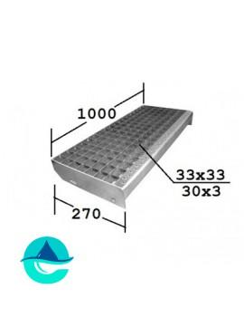 P 1000х270 30/3 33х33 Zn ступени металлические из решетчатого настила
