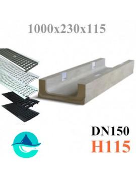 ЛВБ Plus 150 №0/3 тип 2, высота 115 лоток бетонный водоотводный