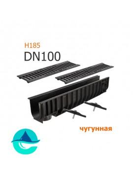 Лоток пластиковый DN100 H185 с решеткой чугунной щелевой и крепежом (комплект)