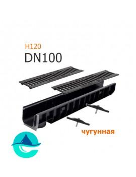 Лоток пластиковый DN100 H120 с решеткой чугунной щелевой и крепежом (комплект)