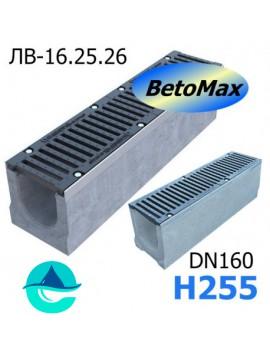 BetoMax ЛВ-16.25.26-Б лоток водоотводный бетонный с решеткой чугунной щелевой ВЧ-50 кл. E