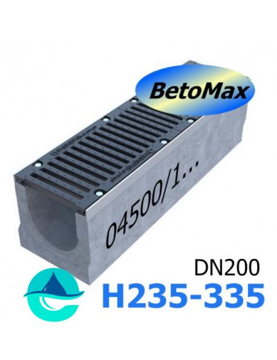 BetoMax ЛВ-20.29.31-Б-У01 лоток водоотводный бетонный с решеткой чугунной щелевой ВЧ-50 КЛ.D или E (комплект)
