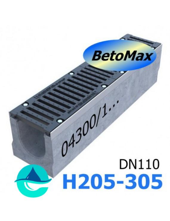 BetoMax ЛВ-16.25.31-Б-У01 лоток водоотводный бетонный с уклоном и с решеткой чугунной ВЧ-50
