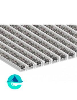 Придверная алюминиевая грязезащитная решетка Текстиль + Скребок, м2